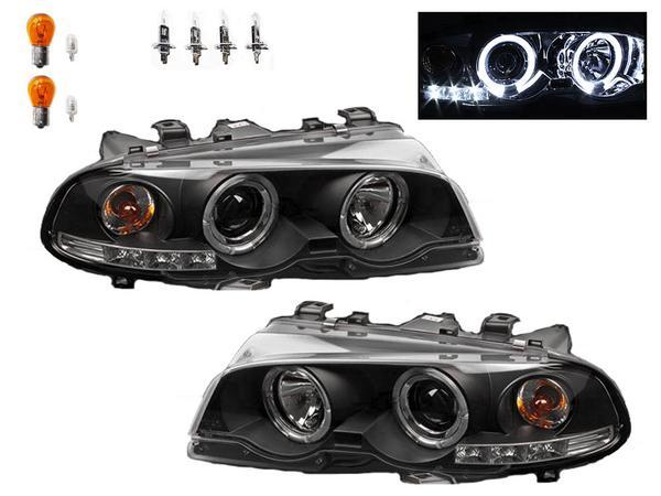 送込 BMW 325 E46クーペ用 ブラック LEDイカリング ヘッドライト