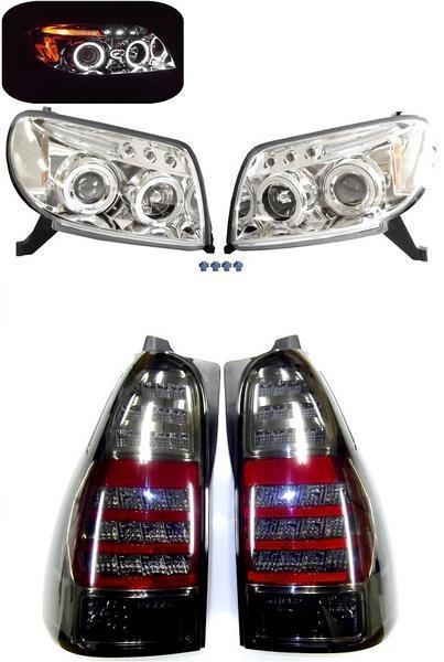送料無料 ハイラックス サーフ TRN210 TRN215W LED スモーク テールランプ & ヘッド ライト 左右 SET