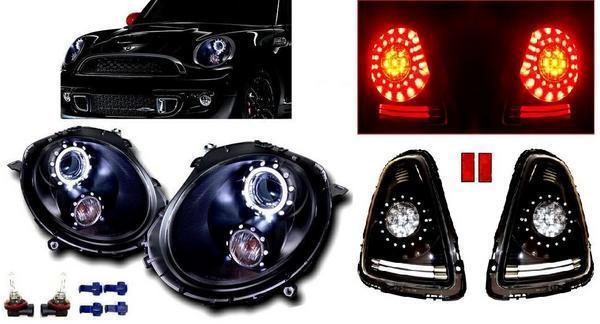 送料無料 BMW ミニ MINI R56 R57 ブラック LED イカリング フロント ヘッドライト & 黒 LED リア テールランプ 左右 セット ユニオンジャック