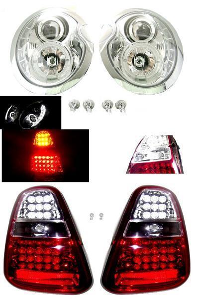 送料無料 日本光軸 ミニクーパー R50 R52 R53 後期 LED プロジェクター イカリング ヘッドライト & LED コンビ テールランプ 左右 セット