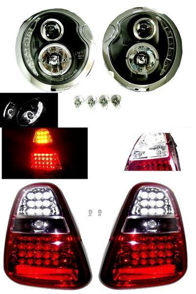 送料無料 日本光軸 ミニクーパー R50 R52 R53 後期 黒 LED プロジェクター イカリング ヘッドライト & LED コンビ テールランプ 左右 セット