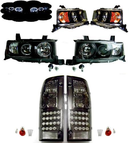 送料無料 トヨタ bB オープンデッキ NCP34 LED インナー ブラック ヘッドライト & LED スモーク テールランプ 左右 セット ライト テール