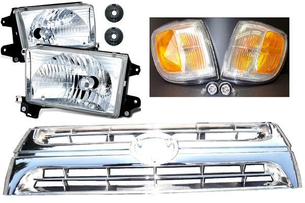 送料無料 トヨタ ハイラックス サーフ 18 180 185 全年式 クリスタル フロント ヘッドライト & USコーナー & グリル RZN180W RZN185W VZN180W VZN185W KZN185G KZN185W KDN185W ※エンブレム別途費用で注文可能