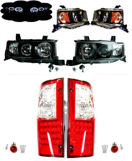 送料無料 トヨタ bB オープンデッキ NCP34 LED インナー ブラック 黒 ヘッドライト & LED コンビ テールランプ 左右 セット ライト テール イカリング ピックアップ テールライト