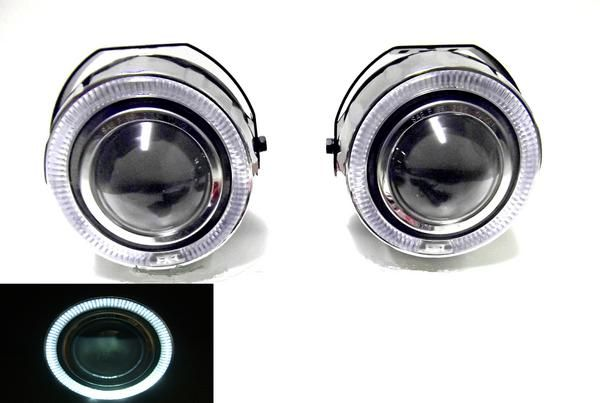送料無料 汎用 LED ホワイト イカリング プロジェクター フォグランプ 左右SET 台湾製