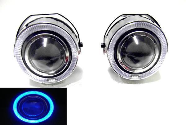 送料無料 汎用 LED ブルー イカリング プロジェクター フォグランプ 左右SET 台湾製