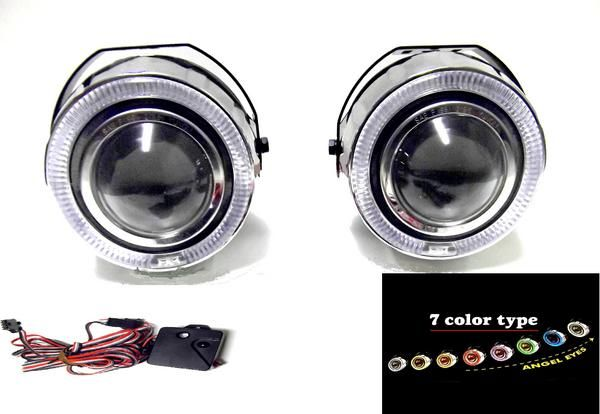 送料無料 汎用 流用 7色 LED イカリング プロジェクター フォグ ランプ レインボー 左右SET フォグランプ フォグライト 120mm×105mm×160mm 台湾製