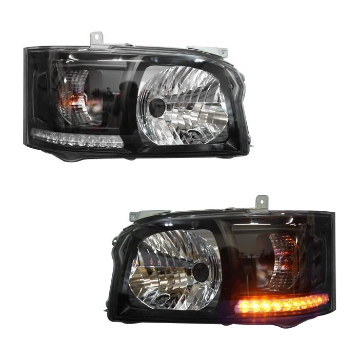 ハイエース 200系 LEDライン ヘッドライト Ver,1 インナーブラック 1型 2型