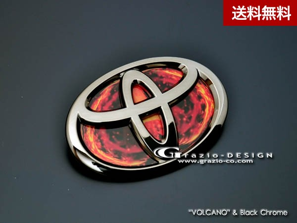 """Grazio TOYOTA 86( ~2016.6) ヒートレッドエンブレム """"VOLCANO"""" リヤ用(W100)のみ ブラッククロ-ム"""