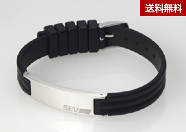 SEVラインブレスレット2 ブラック/Lサイズ(約17cm~22cm)
