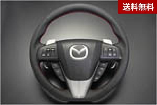 アクセラ(BL) /Mazdaspeed Axela (BL系全車) スポ-ツステアリングホイ-ル 本革製/グリップ部ディンプル加工(レッドステッチ)  全商品マツダ販売店発送不可・大型商品は個人宅発送不可