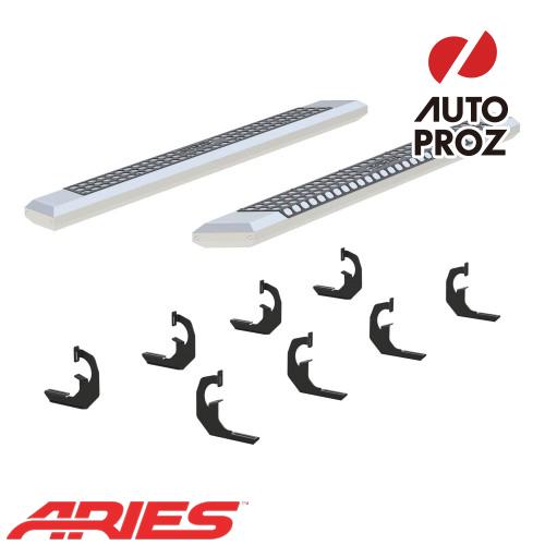 [USアリーズ 直輸入正規品] Aries シボレー/GMC シルバラード/シエラ 1500/2500/3500 ダブルキャブ、1500はガソリン車のみ 5.5インチサイドステップ シルバー
