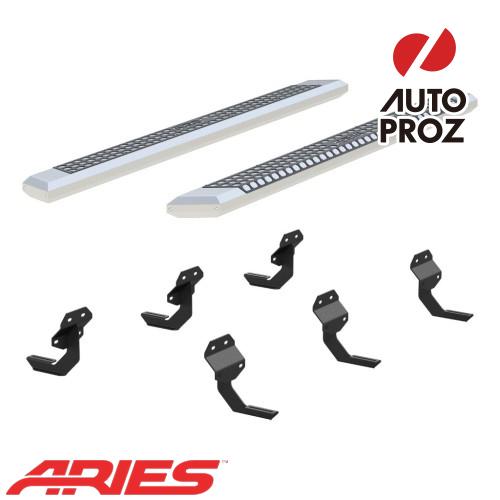 [USアリーズ 直輸入正規品] Aries フォード F150 スーパークルー、ガソリン車のみ 5.5インチサイドステップ シルバー