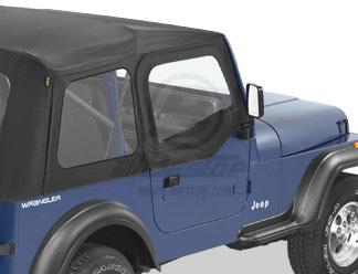【US直輸入正規品】BESTOP (べストップ)ソフトアッパードア(スーパートップ用)Jeep Wrangler(ジープ ラングラー)1988-1995年(スチールハーフドア)※ブラックデニム