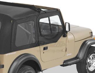 【US直輸入正規品】BESTOP (べストップ)アッパードアスライダー(サンライダー スーパートップ ハーフトップ用)Jeep Wrangler(ジープ ラングラー)1988-1995年※ブラックデニム