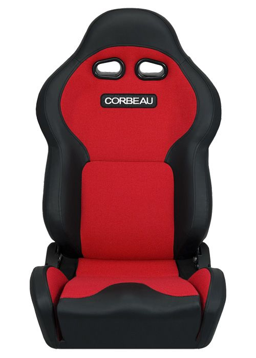 [USコルビュー 直輸入正規品] CORBEAU VX2000 リクライニングシート(ビニール/布シート) ブラック/レッド (運転席 助手席セット)