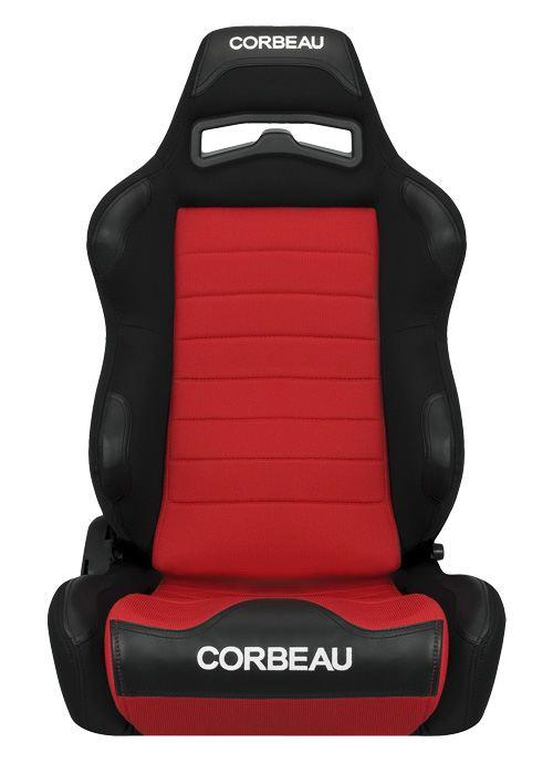 [USコルビュー 直輸入正規品] CORBEAU LG1 リクライニングシート(布シート) ブラック/レッド (運転席 助手席セット)