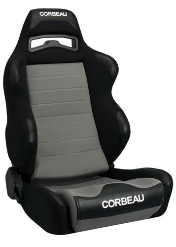 [USコルビュー 直輸入正規品] CORBEAU Legacy Wide レガシーワイド リクライニングシート(布製) ブラック×グレー (運転席 助手席セット)