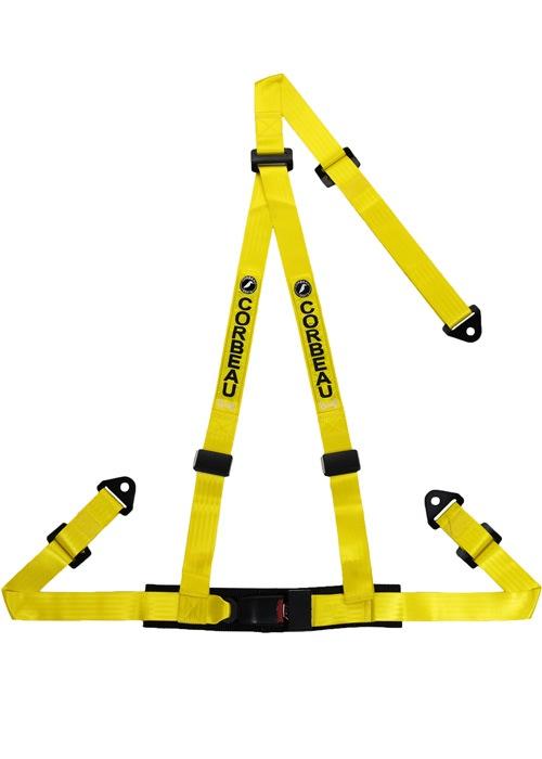 [USコルビュー 直輸入正規品] CORBEAU 2-Inch Harness Belts 2インチ ハーネスシートベルト 3ポイントボルトイン イエロー
