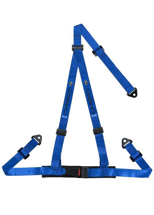 [USコルビュー 直輸入正規品] CORBEAU 2-Inch Harness Belts 2インチ ハーネスシートベルト 3ポイントスナップイン ブルー