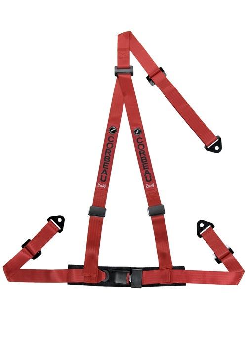 [USコルビュー 直輸入正規品] CORBEAU 2-Inch Harness Belts 2インチ ハーネスシートベルト 3ポイントスナップイン レッド