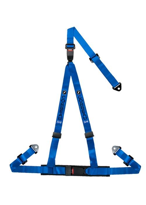[USコルビュー 直輸入正規品] CORBEAU 2-Inch Harness Belts 2インチ ハーネスシートベルト 3ポイントダブルリリーススナップイン ブルー