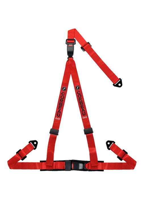 [USコルビュー 直輸入正規品] CORBEAU 2-Inch Harness Belts 2インチ ハーネスシートベルト 3ポイントダブルリリーススナップイン レッド
