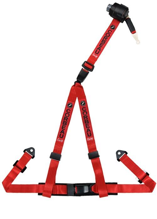 [USコルビュー 直輸入正規品] CORBEAU 2-Inch Harness Belts 2インチ ハーネスシートベルト 3ポイントリトラクタブルボルトイン レッド
