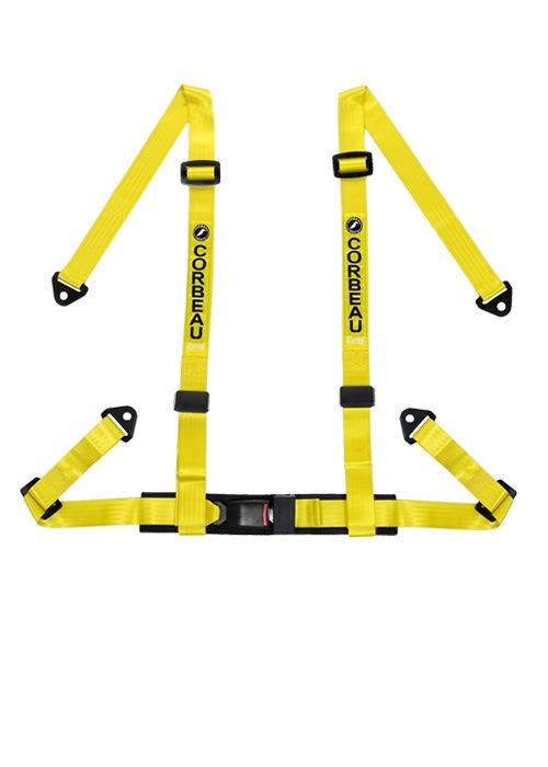 [USコルビュー 直輸入正規品] CORBEAU 2-Inch Harness Belts 2インチ ハーネスシートベルト 4ポイントスナップイン イエロー