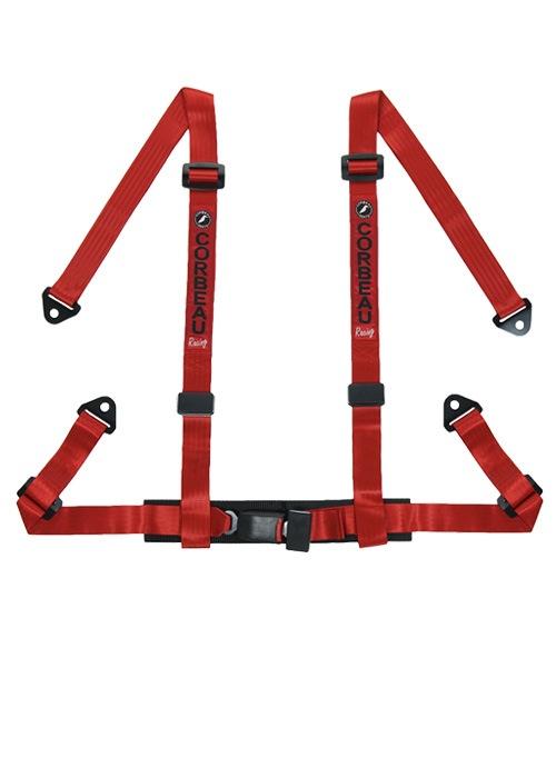 [USコルビュー 直輸入正規品] CORBEAU 2-Inch Harness Belts 2インチ ハーネスシートベルト 4ポイントボルトイン レッド