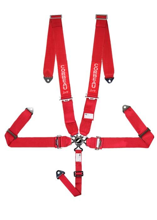 [USコルビュー 直輸入正規品] CORBEAU 2-Inch Harness Belts 3インチ ハーネスシートベルト 5ポイントカムロック イエロー