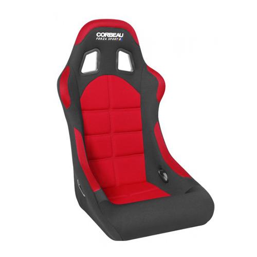 [USコルビュー 直輸入正規品] CORBEAU Forza Sport フォルツァ スポーツ フルバケットシート(布製) ブラック×レッド (運転席 助手席共通)