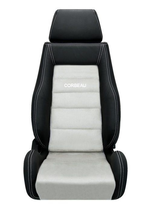 [USコルビュー 直輸入正規品] CORBEAU GTS リクライニングシート(レザー/スエードシート) ブラック/グレー (運転席 助手席セット)
