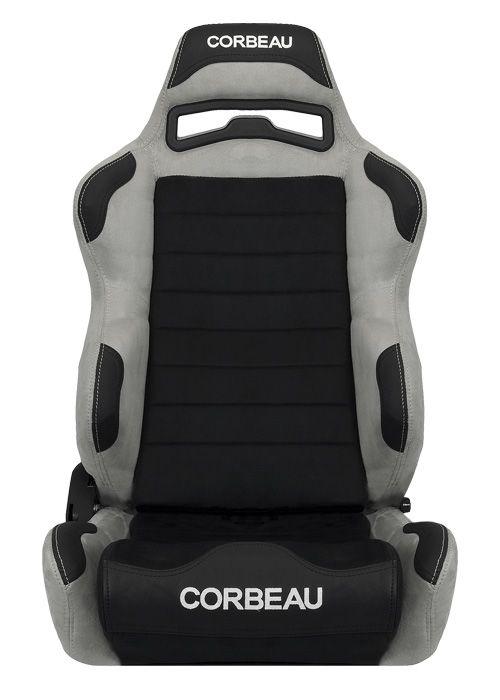 [USコルビュー 直輸入正規品] CORBEAU LG1 リクライニングシート(スエードシート) ブラック/グレー ワイド (運転席 助手席セット)