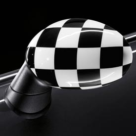 【USミニ 直輸入純正品】 MINI Cooper Hardtopミニクーパー2009-2013年(平成21年-25年式)チェッカーフラッグミラーカバー 左右