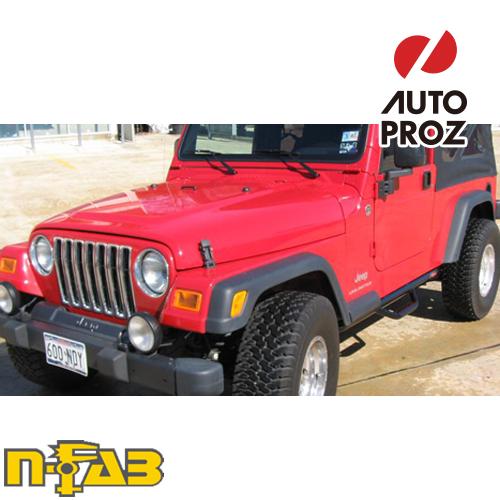 【USエヌファブ 直輸入正規品】 n-Fab Jeep ラングラー アンリミテッド TJ/BJ 1997-2006年式 ナーフステップ ツヤありブラック