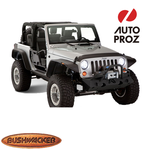 [USブッシュワーカー 直輸入正規品] Bushwacker ジープ JK ラングラー 2ドアに適合Flat Style フェンダーフレア/オーバーフェンダー フロントリアセット マットブラック