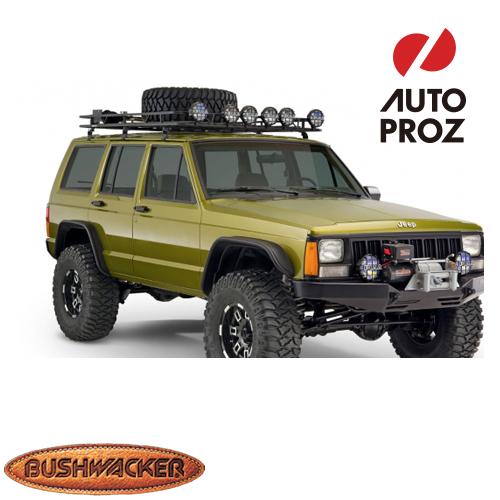 [USブッシュワーカー 直輸入正規品] Bushwacker ジープ チェロキー XJ Flat Style フェンダーフレア フロントリアセット マットブラック