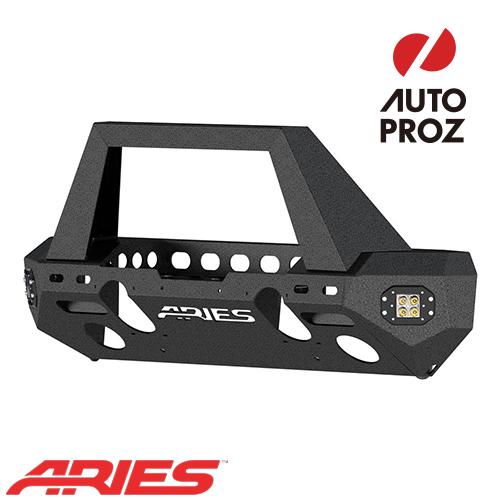 [USアリーズ 直輸入正規品] Aries ジープ JKラングラー TrailChaserシリーズ 角フープ フロントバンパー LEDフォグセット スチール製