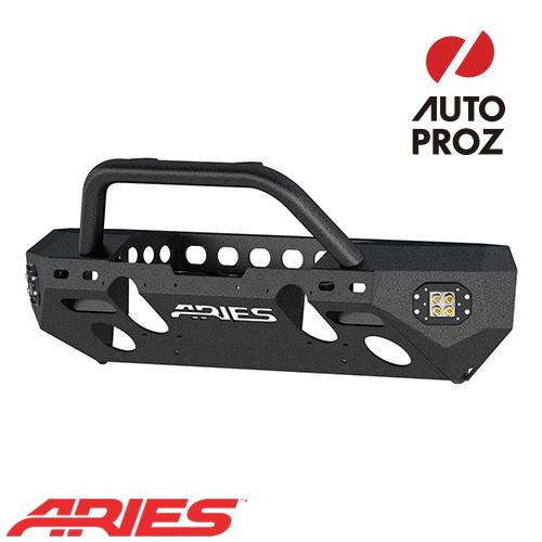 [USアリーズ 直輸入正規品] Aries ジープ JKラングラー TrailChaserシリーズ シングルフープ フロントバンパー LEDフォグセット スチール製