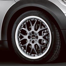 【US直輸入純正品】MINI Cooper Hardtopミニクーパー17インチホイール 4本クロススポーク コンポジット(マットブラック)※センターキャップ付き