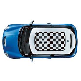 【US直輸入純正品】MINI Cooper Hardtopミニクーパーサンルーフ グラフィックチェッカーフラッグ ステッカー(デカール/シール)