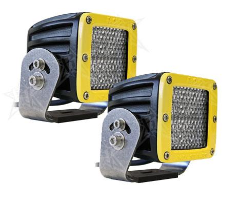 【US直輸入正規品】RIGID INDUSTRIESリジッドインダストリーDually (デュアリー)HD LEDライト/イエローベゼル※2個 ディフューズ (オレンジLED)