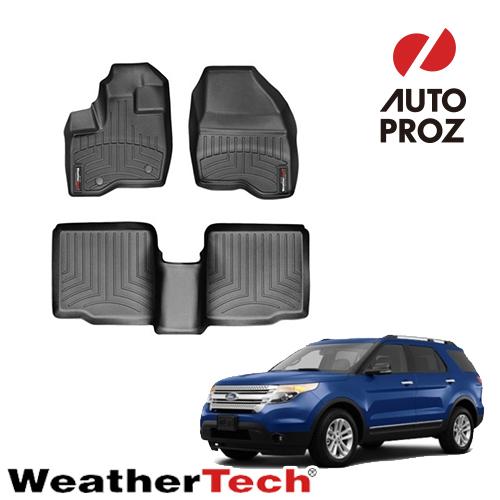 [WeatherTech 正規品] フォード エクスプローラー 2列目ベンチシート 2011-2014年 左ハンドル用 フロアマット/フロアライナー 2列セット ブラック