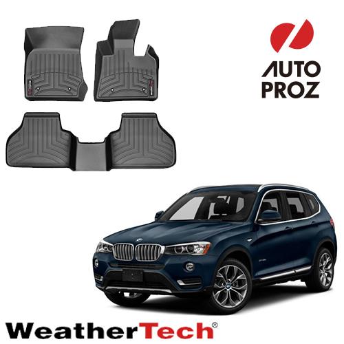 [WeatherTech 正規品] BMW X3 F25 2014-2017年式 右ハンドル用 2列セット フロアマット/フロアライナー ブラック