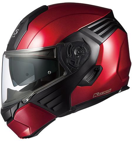オージーケーカブト(OGK KABUTO)バイクヘルメット システム KAZAMI シャイニーレッド/ブラック Lサイズ