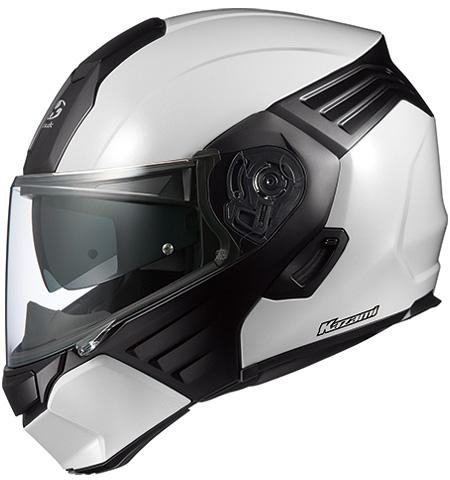オージーケーカブト(OGK KABUTO)バイクヘルメット システム KAZAMI ホワイトメタリック/ブラック Lサイズ