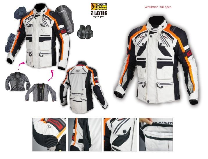 コミネ(KOMINE) JK-593 プロテクトフルイヤーツーリングジャケット Grey/Orange 4XLBサイズ