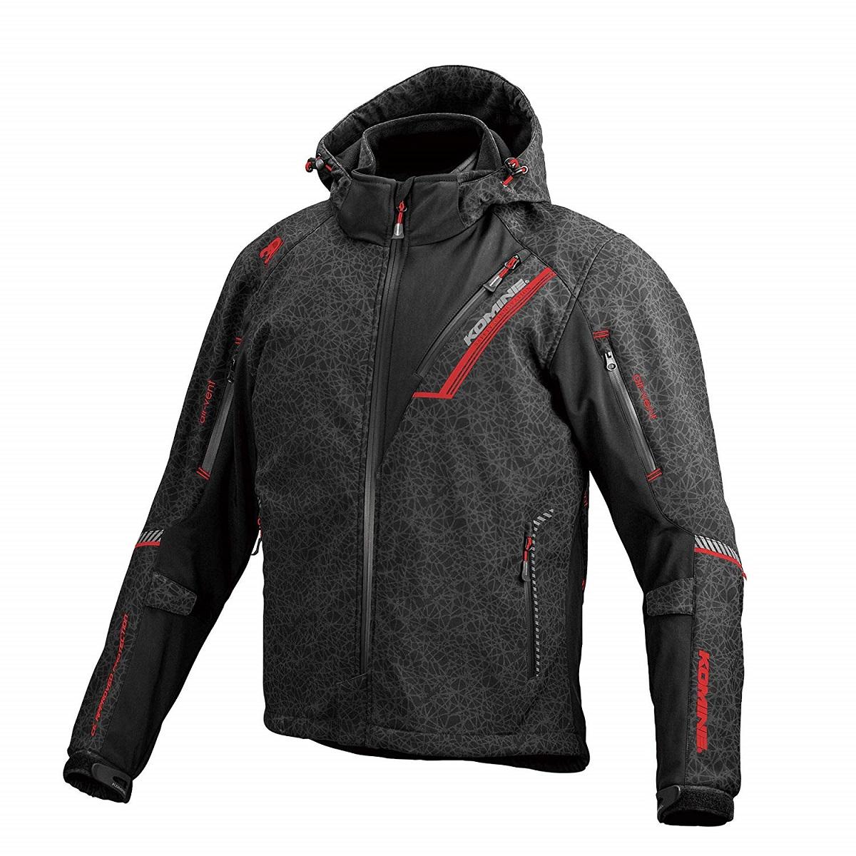 コミネ(KOMINE) JK-579 プロテクトソフトシェルウィンターパーカ-イフ HR-Black/Red 2XLサイズ