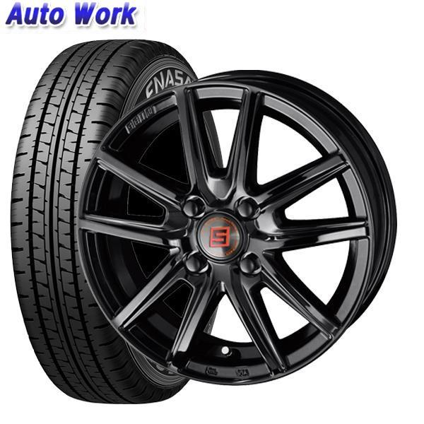 新品タイヤ KYOHO SEIN SS - BLACK EDITION ソリッドブラック 3.5J-12+45 4H 100 ダンロップ エナセーブ VAN01 145R12 4本セット組込済 夏タイヤ
